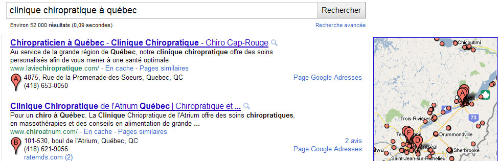 Résultats local Google Adresse